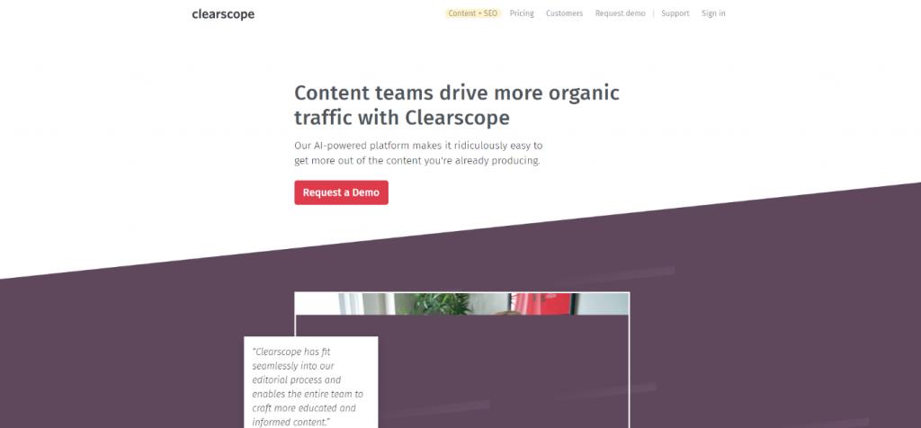 Clearscope Homepage Screenshot