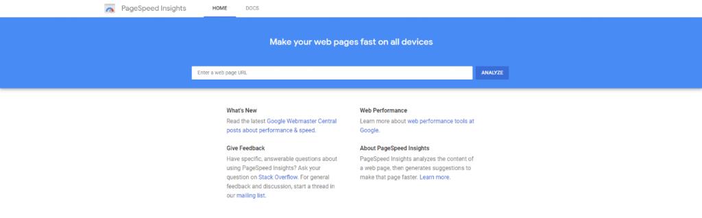 Google Pagespeed Insights Tool Screenshot