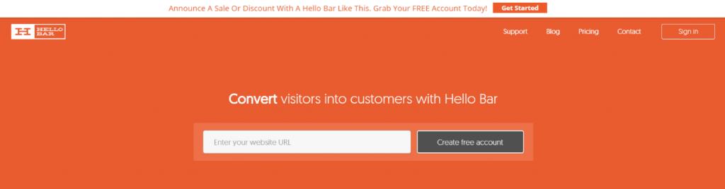 Hello Bar Home Page Screenshot