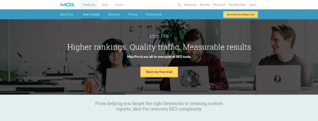 Mozpro Home Page Screenshot